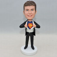 Personalized superman bobbleheads with dark blue underwear