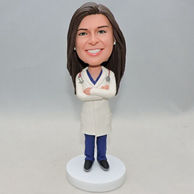 Personalized woman doctor bobble head doll with stethophone on the neck