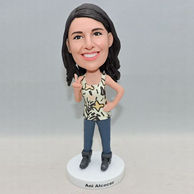 Personalized girl bobblehead with sleeveless sweater
