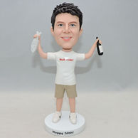 Personalized boy bobblehead doll with fish and beer on hands