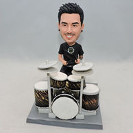 Personalized young boy musician bobblehead with drum