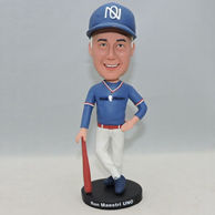 Personalized baseball bobble head doll with blue cap and shirt