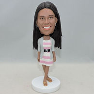 Fashion girl bobblehead with pink and white stripe skirt