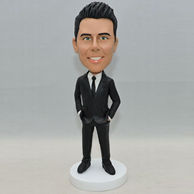 Custom man bobblehead with black suit