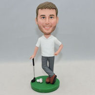 Normal standing golf player bobblehead with gray pants