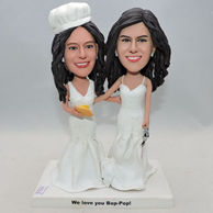 Custom twins sisters bobblehead with white dress