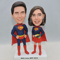 Custom sweet super couple bobblehead with red cape and boot