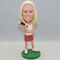 Custom tennis player bobblehead with red skirt
