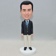Personalized man bobblehead with blue and black stripe tie