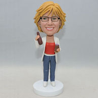 Personalized female bobblehead with white coat