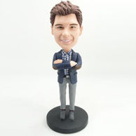 Personalized man bobblehead with nay blue coat