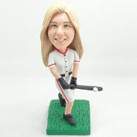 Personalized female baseball player bobblehead with white ball