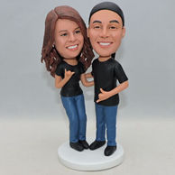 Personalized sweet couple bobblehead with couples clothing