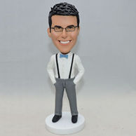 Personalized bobblehead in bib pants and bow tie