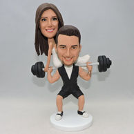 Custom interesting coulpe bobbleehad for wedding