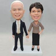 Custom sweet couple bobbleheads with hand in hand