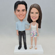 Personlized couple bobbleheads both with leisure wear
