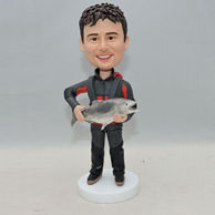 Personalized men bobblehead who holding a fish