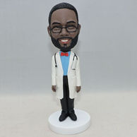 Custom doctor bobblehead with a stethoscope around neck