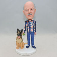 Custom gift father bobbleheads with a gray dog