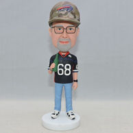 Custom men bobbleheads with a bottle of water on his hand