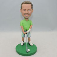 Personalized playing golf men bobblehead