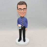 Personalized men bobbleheads with a cup of tea on his hand