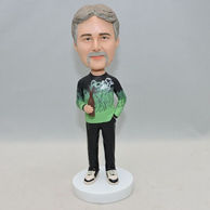 Custom men bobbleheads with a bottle of beer on his hand