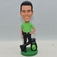 Custom golf player bobblehead with green shirt