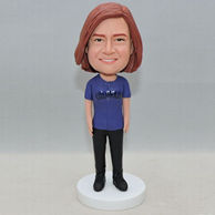 Normal standing bobblehead in blue shirt and black pants