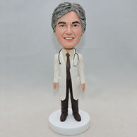 Personalized men doctor bobble head doll with stethophone hang around neck