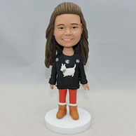 Custom cute little girl bobblehead with beautiful clothes