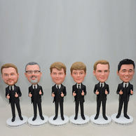 Set of 6 Handsome groomsmen bobbleheads with thumbs up