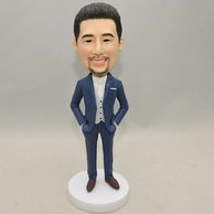 Custom men bobblehead wear blue suit and with his hands in pocket