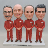 Personalized four men bobbleheads with red uniform same postures