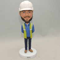 Custom Men Bobbleheads with work uniform and white hat
