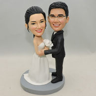 Personalized Wedding Bobbleheads in black suit and white dress
