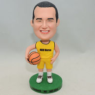 Men Bobblehead Custom holding basketball in yellow Jersey