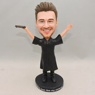 Personalized Men Bobblehead with hands up in black clothes