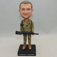 Custom Bobbleheads Dress In Camouflage caot And Carring the Gun