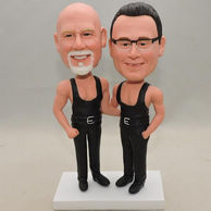 Custom Bobblehead father and son in black trousers& waistcoat