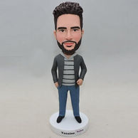 Aggressive man bobblehead with short curly hair