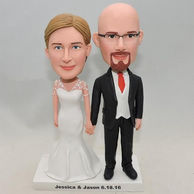 Realistic couple bobbleheads bride with wedding dress made of lace