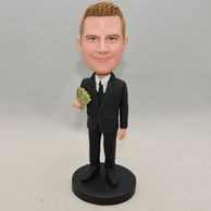 Black suit man bobblehead hold money