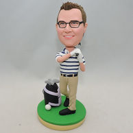 Active golf bobblehead toothpaste smile with brown hair