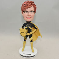 Custom-made woman bobblehead with shield fashion