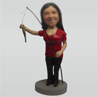 Custom female Fishing bobbleheads