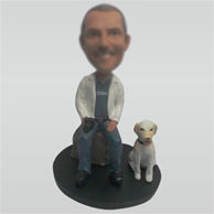 Custom Dad and dog bobbleheads