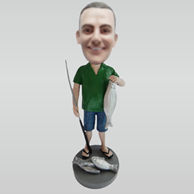 Personalized custom man fishing bobbleheads