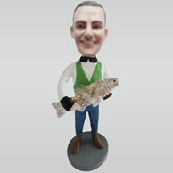 Personalized custom man and big fish bobbleheads